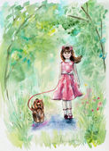 Girl and dog. Yorkshire terrier. Girl walks with a puppy in the wood. Pink bow and pink dress. — Stock Photo
