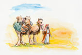 Arab with a camel. Scene with the desert. — Stock Photo