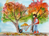 The woman collects fallen leaves. Work in a garden. Autumn. — Stock Photo