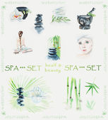 Illustration of spa stone with bamboo leaves and lilia. Set of cards for SPA salon. — Стоковое фото