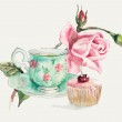 Tea Time. Cup with tea and a rose branch. — Stock Photo #50056329