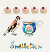 Tea Time. Goldfinch pecks cake. — Stock Photo