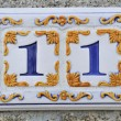 Stock Photo: Adress ceramic number eleven 11