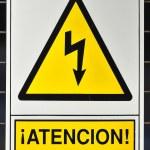 Yellow poster shock hazard — Stock Photo #38386237