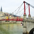 Footbridge on Saone river — Stock Photo #38386557