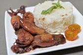 Squid stew garnished with white rice — Stock Photo