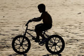 Child ride on bicycle — Stock Photo