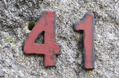 Address number 41 forty one in red — Stock Photo