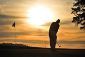 Golfer on green backlit sunset — Stock Photo