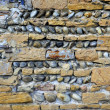 Wall of briks and round stones — Stock Photo