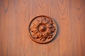 Wood joinery flower in circle work — Stock Photo
