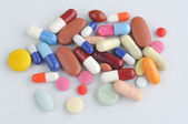 Assortment of pills and capsules — 图库照片