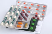 Pills and capsules in blister — Foto Stock