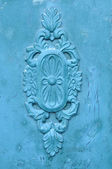 Old traditional wood joinery work painted blue — Stock Photo