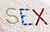 Word sex written with capsules and pills — Foto Stock