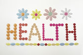 Health message made of drugs — Foto Stock