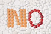 Word NO made with pills and medicines — Foto Stock