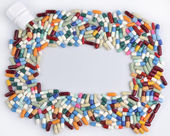 Multi colored pills and tablets — Foto Stock