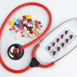Doctors Stethoscope with pills and tablets treatment — Stock Photo #38501023