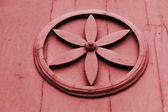 Wood joinery star in circle work — Stock Photo