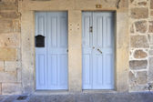 Wooden catholic doors — Stock Photo