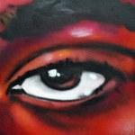 Eye colored graffiti detail — Stock Photo