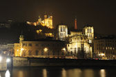 Notre Dame de Fourviers and Saone river in Lyon — Stock Photo