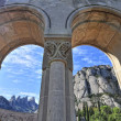 Montserrat mountain with monastery arches — Stock Photo #44587387