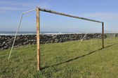 Old football or soccer goal — Stock Photo