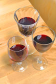 Red wines in crystal glasses — Stock Photo