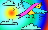 Bird , sun & clouds — Stock Photo