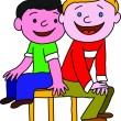 Two boy are sitting on one chair — Stock Photo #38667053