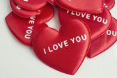 Red heart with the word love you on white background — Stock Photo