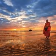 Monk walk beach hushin sunset thailand food — Stock Photo