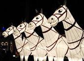 White horse lanterns — Stock Photo