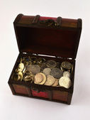 Treasure Chest With Silver coins 1 — Stock fotografie