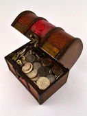 Treasure Chest With Silver coins 2 — Stock Photo