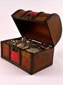 Treasure Chest With Silver coins 3 — Stock fotografie