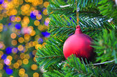 Decorated Christmas tree with bokeh background — Stock Photo