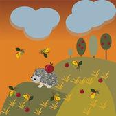 Autumn fantasy landscape with hedgehog — Stock vektor
