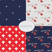 Bullfinch pattern set — Stock Vector