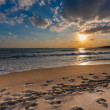 Stock Photo: Cloudy sunset over deserted beach