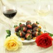 Wine, Roses and Sweets — Stock Photo #40815053