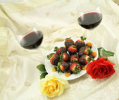 Wine Roses and Sweets — Stockfoto