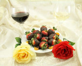 Wine, Roses and Sweets — Stock Photo