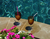 Drinks by the Pool — Stock Photo