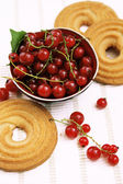 Red currants in the bowl and biscuits composition on white table cloth — Stock Photo