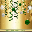 Stock Vector: Gold and Green Happy New Year 2015