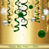 Oro e verde felice nuovo anno 2015 — Vettoriale Stock