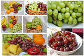 Collage of Grapes & Other Fresh Fruit — Stockfoto